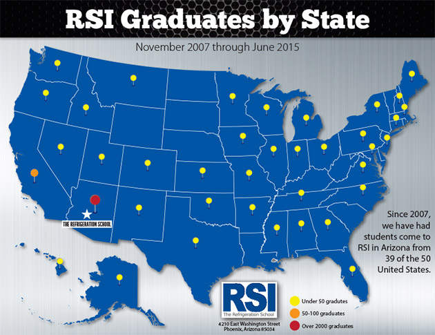 refrigeration school graduates by state