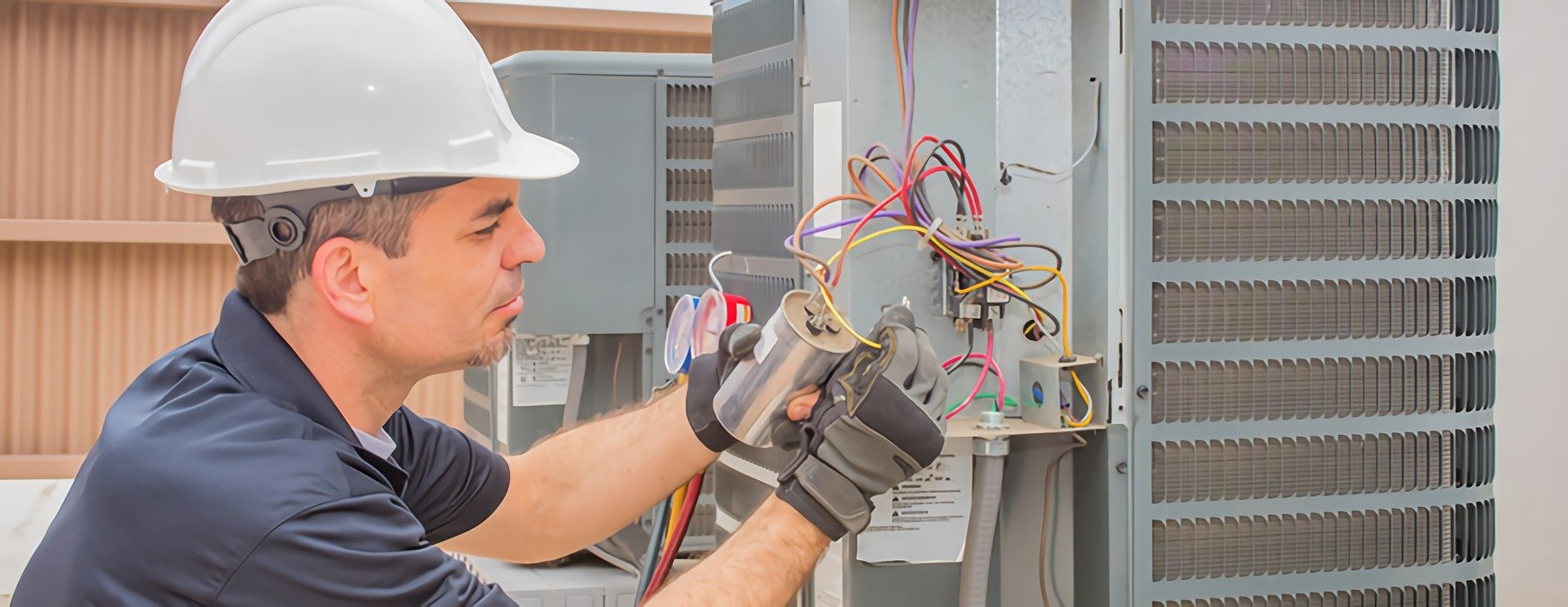 hvac technician using safety gloves