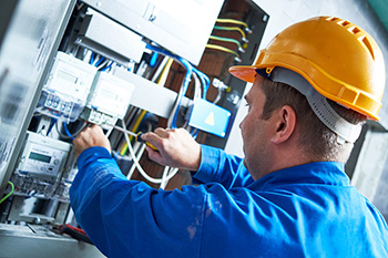 industrial electrician working in the field