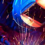 professional welder erecting technical steel