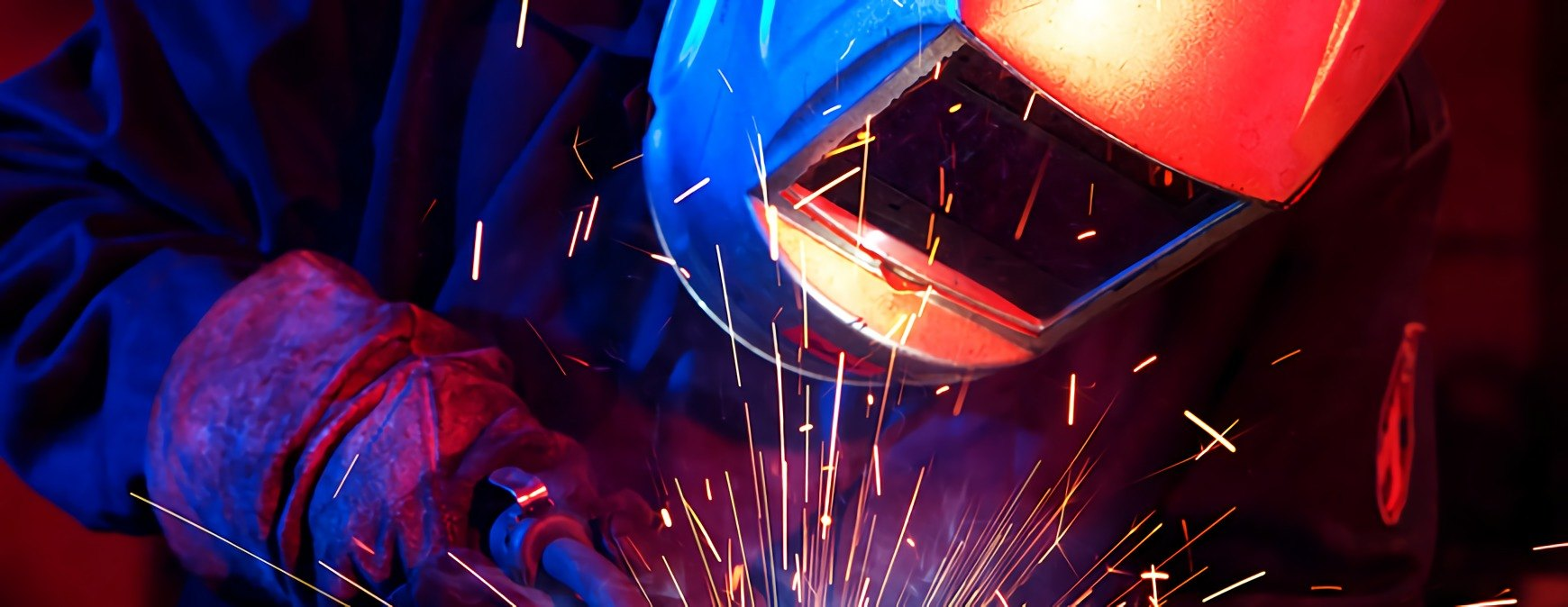 professional welder erecting technical steel