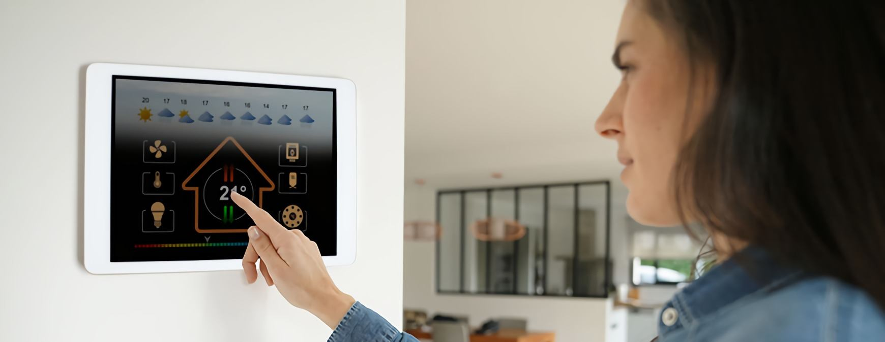 woman using smart hvac technology